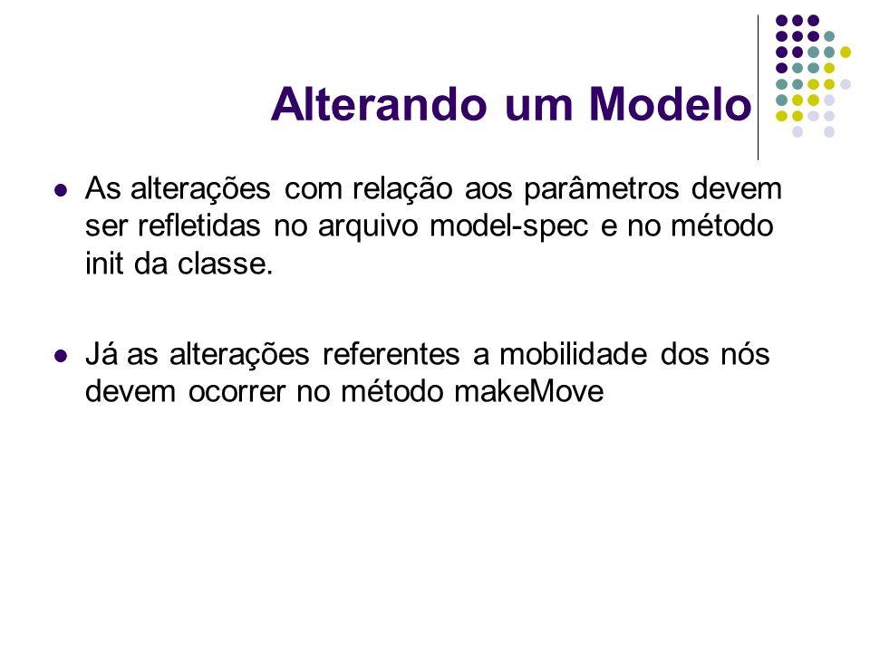 Alterando um Modelo As alterações com relação aos parâmetros devem ser refletidas no arquivo model-spec e no método init da classe. Já as alterações r