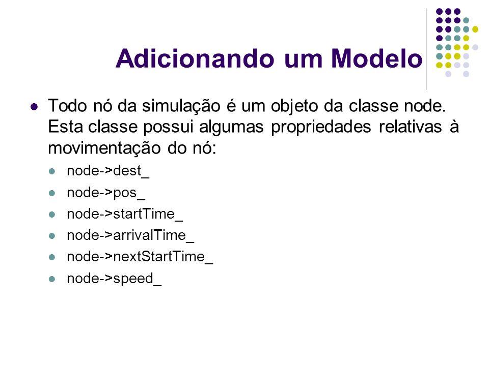 Adicionando um Modelo Todo nó da simulação é um objeto da classe node. Esta classe possui algumas propriedades relativas à movimentação do nó: node->d