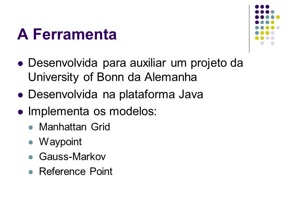 A Ferramenta Desenvolvida para auxiliar um projeto da University of Bonn da Alemanha Desenvolvida na plataforma Java Implementa os modelos: Manhattan