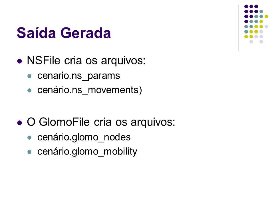 Saída Gerada NSFile cria os arquivos: cenario.ns_params cenário.ns_movements) O GlomoFile cria os arquivos: cenário.glomo_nodes cenário.glomo_mobility