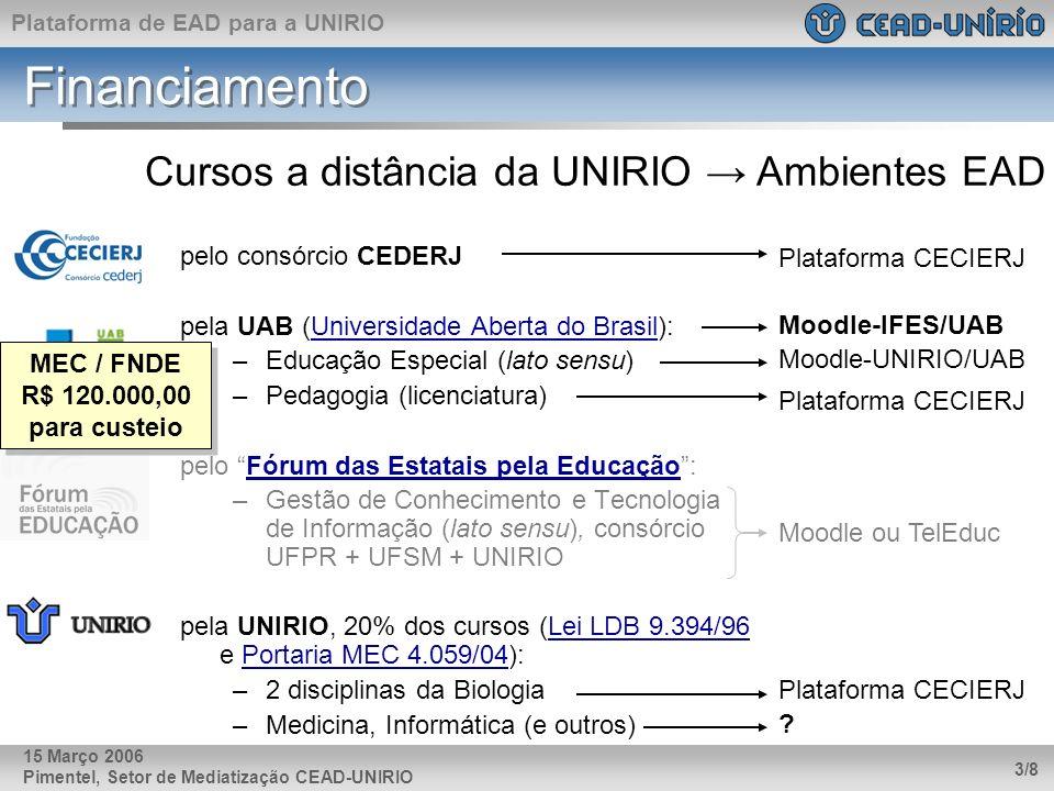 Plataforma de EAD para a UNIRIO Pimentel, Setor de Mediatização CEAD-UNIRIO 3/8 15 Março 2006 Financiamento pelo consórcio CEDERJ pela UAB (Universida