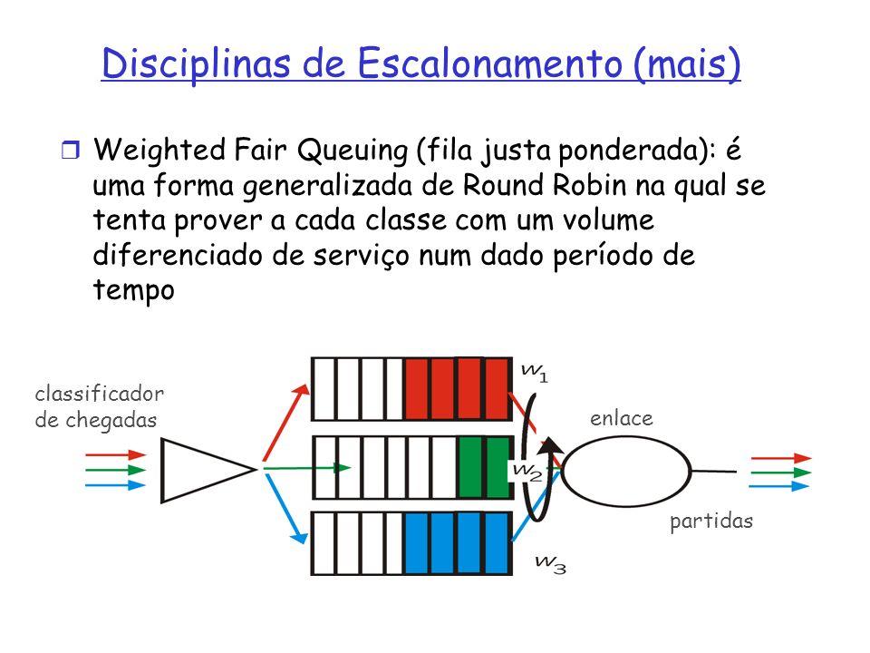 Weighted Fair Queuing (fila justa ponderada): é uma forma generalizada de Round Robin na qual se tenta prover a cada classe com um volume diferenciado