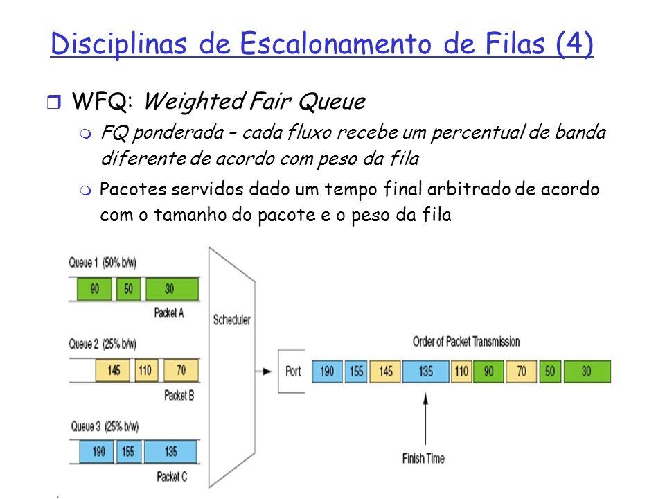 Disciplinas de Escalonamento de Filas (4) WFQ: Weighted Fair Queue FQ ponderada – cada fluxo recebe um percentual de banda diferente de acordo com pes
