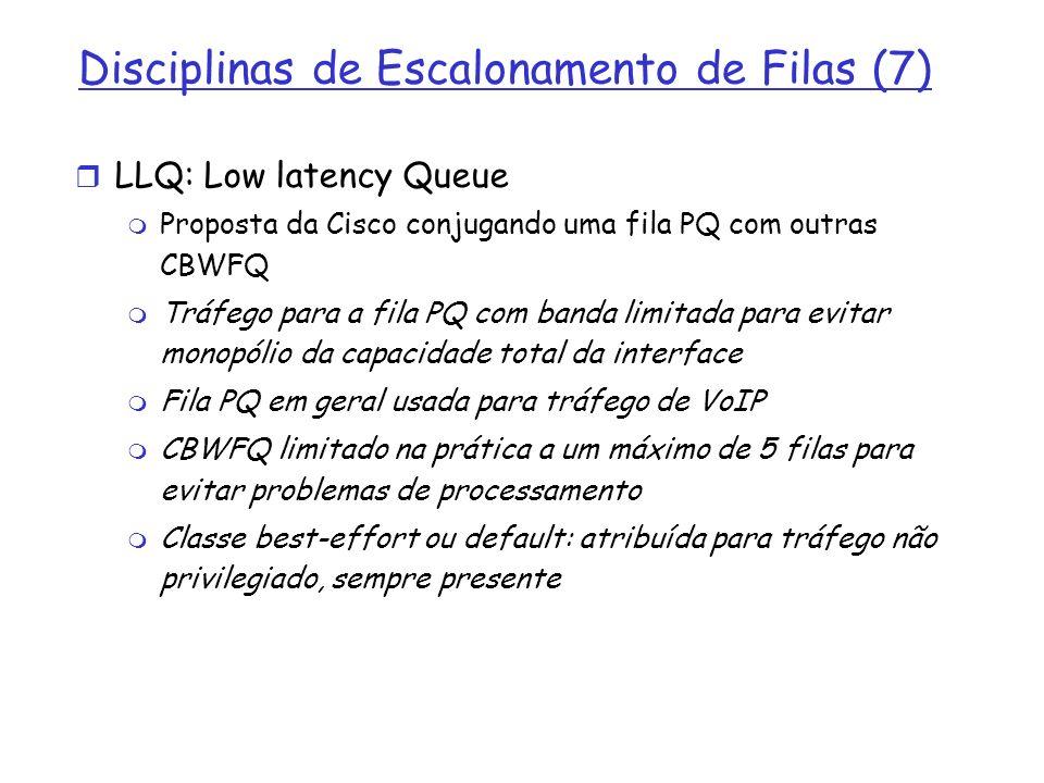 Disciplinas de Escalonamento de Filas (7) LLQ: Low latency Queue Proposta da Cisco conjugando uma fila PQ com outras CBWFQ Tráfego para a fila PQ com