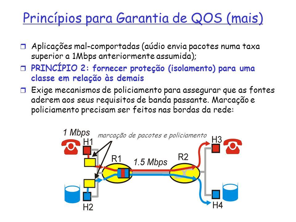 Princípios para Garantia de QOS (mais) Aplicações mal-comportadas (aúdio envia pacotes numa taxa superior a 1Mbps anteriormente assumida); PRINCÍPIO 2