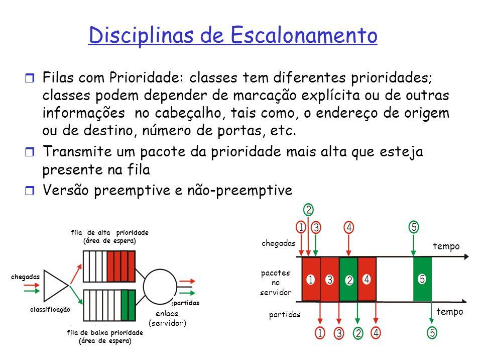 Disciplinas de Escalonamento de Filas (3) FQ: Fair Queue Pacotes classificados por fluxos, para cada fluxo uma fila Filas servidas em round robin - mesma banda para cada fluxo