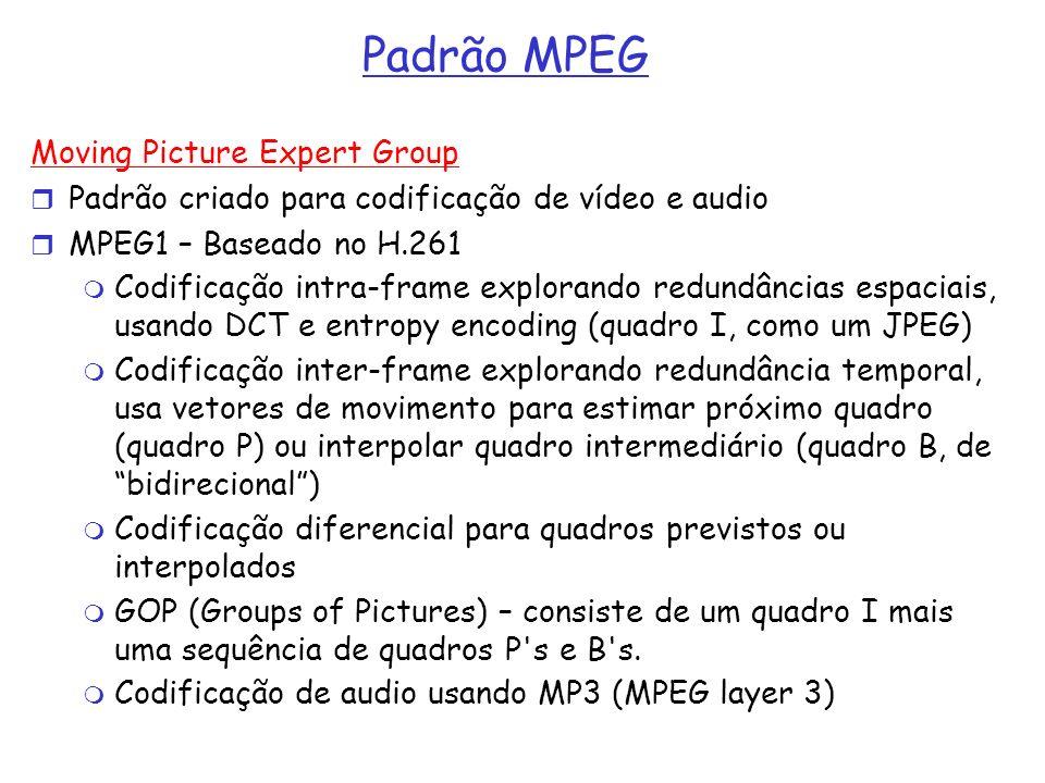 Padrão MPEG Moving Picture Expert Group Padrão criado para codificação de vídeo e audio MPEG1 – Baseado no H.261 Codificação intra-frame explorando re