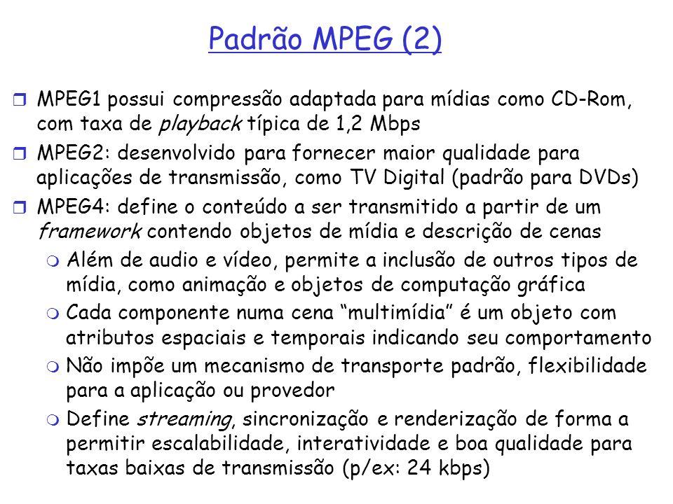 Padrão MPEG (2) MPEG1 possui compressão adaptada para mídias como CD-Rom, com taxa de playback típica de 1,2 Mbps MPEG2: desenvolvido para fornecer ma