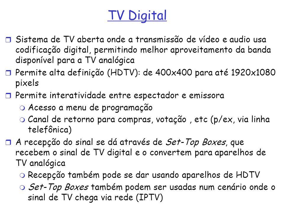TV Digital Sistema de TV aberta onde a transmissão de vídeo e audio usa codificação digital, permitindo melhor aproveitamento da banda disponível para