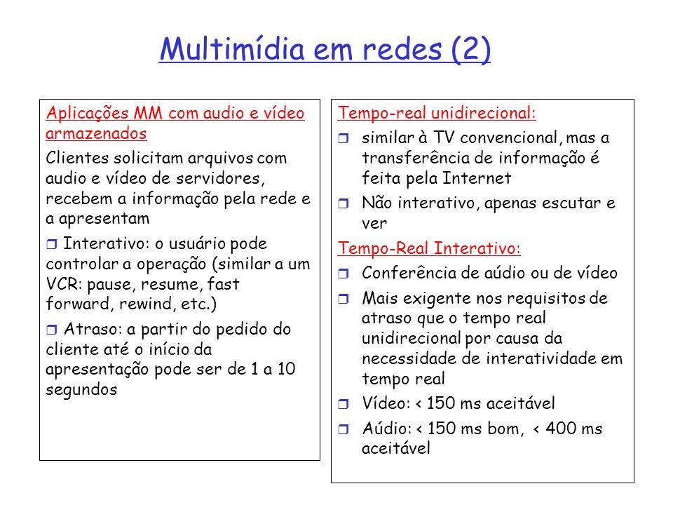 Multimídia em redes (2) Aplicações MM com audio e vídeo armazenados Clientes solicitam arquivos com audio e vídeo de servidores, recebem a informação