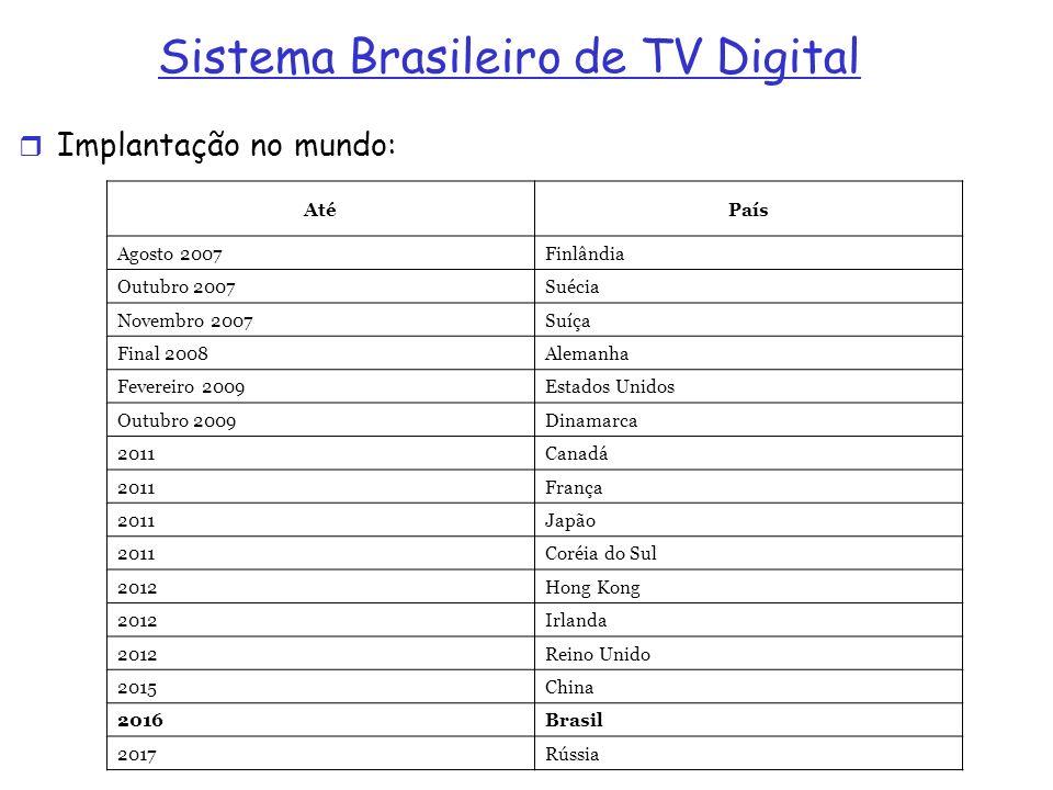 Sistema Brasileiro de TV Digital Implantação no mundo: AtéPaís Agosto 2007Finlândia Outubro 2007Suécia Novembro 2007Suíça Final 2008Alemanha Fevereiro