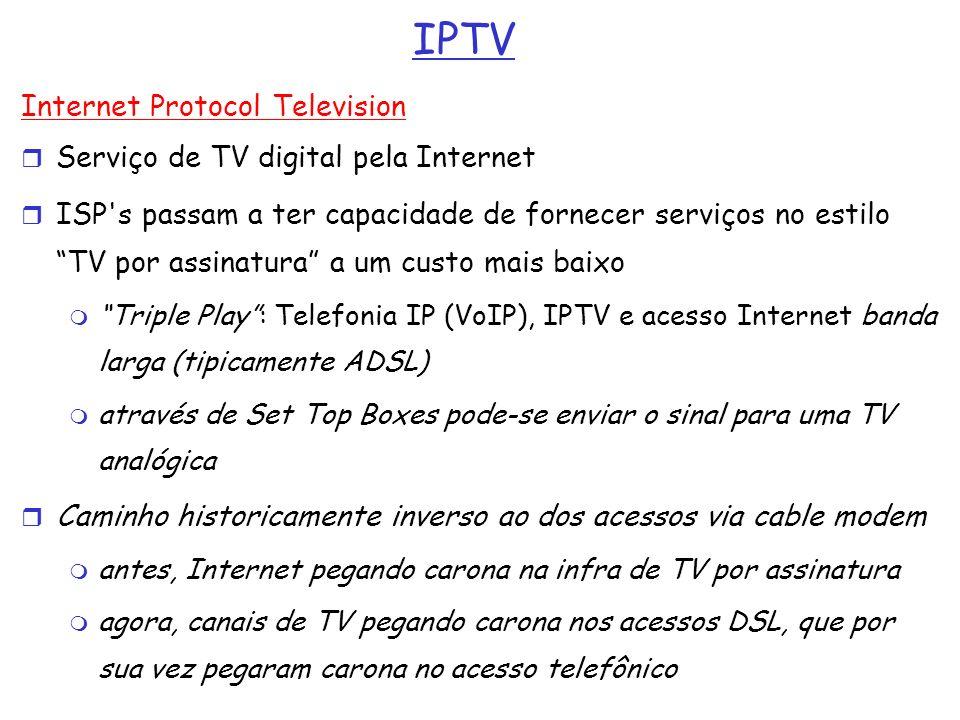 IPTV Internet Protocol Television Serviço de TV digital pela Internet ISP's passam a ter capacidade de fornecer serviços no estilo TV por assinatura a
