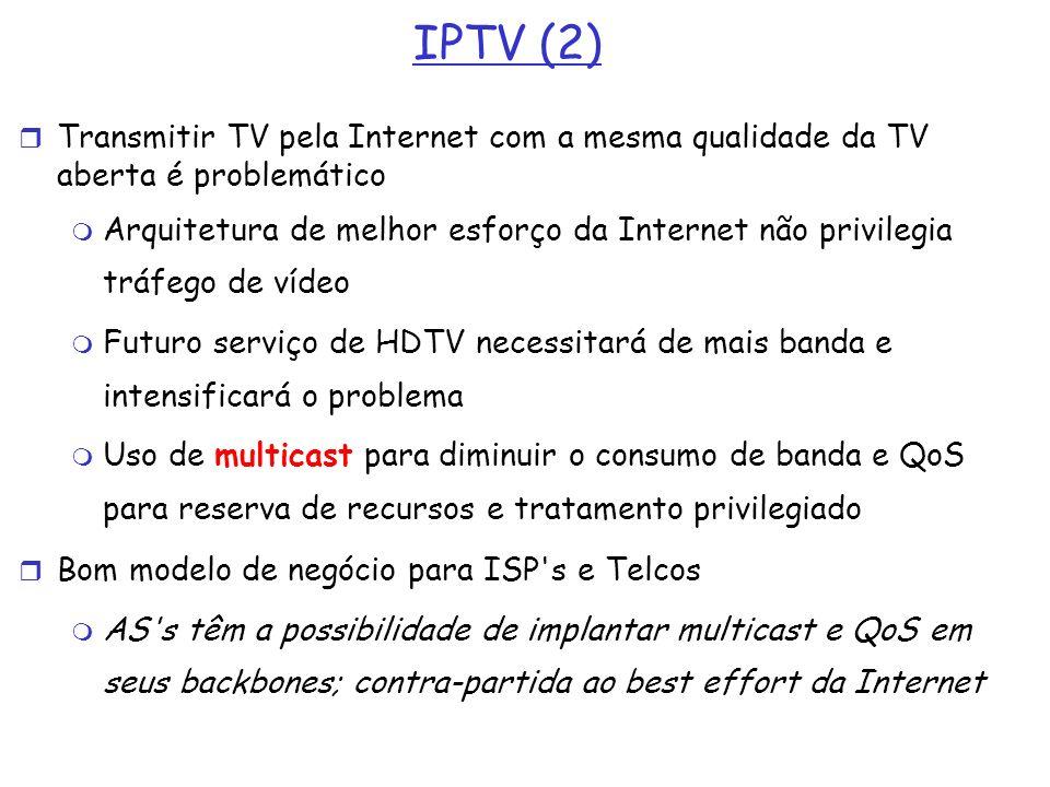 IPTV (2) Transmitir TV pela Internet com a mesma qualidade da TV aberta é problemático Arquitetura de melhor esforço da Internet não privilegia tráfeg