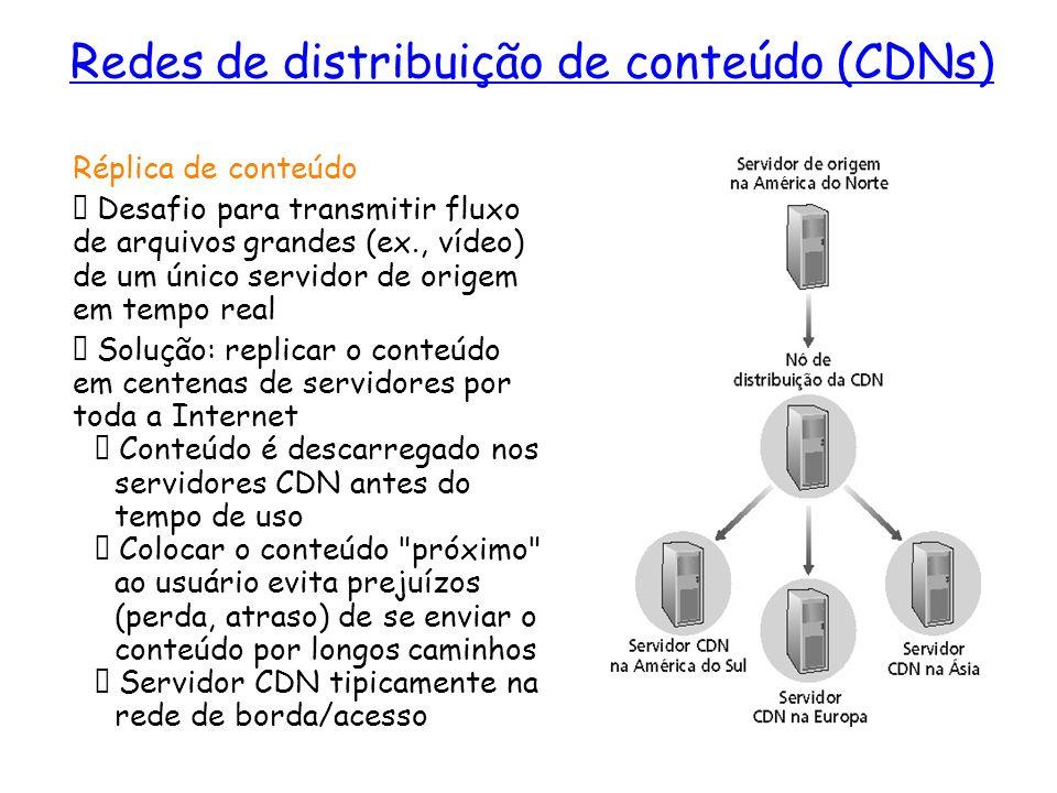 Redes de distribuição de conteúdo (CDNs) Réplica de conteúdo Desafio para transmitir fluxo de arquivos grandes (ex., vídeo) de um único servidor de or