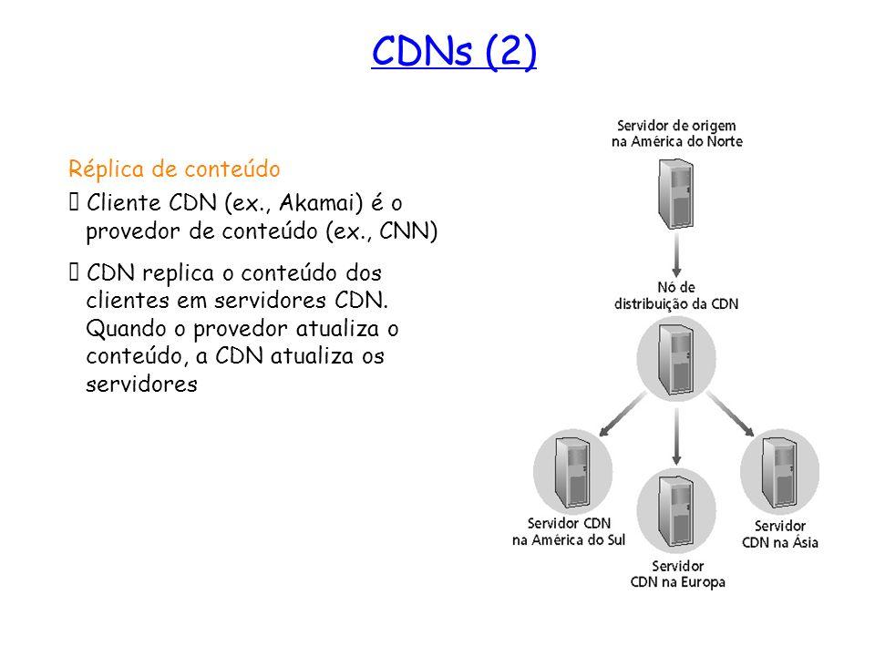 Réplica de conteúdo Cliente CDN (ex., Akamai) é o provedor de conteúdo (ex., CNN) CDN replica o conteúdo dos clientes em servidores CDN. Quando o prov