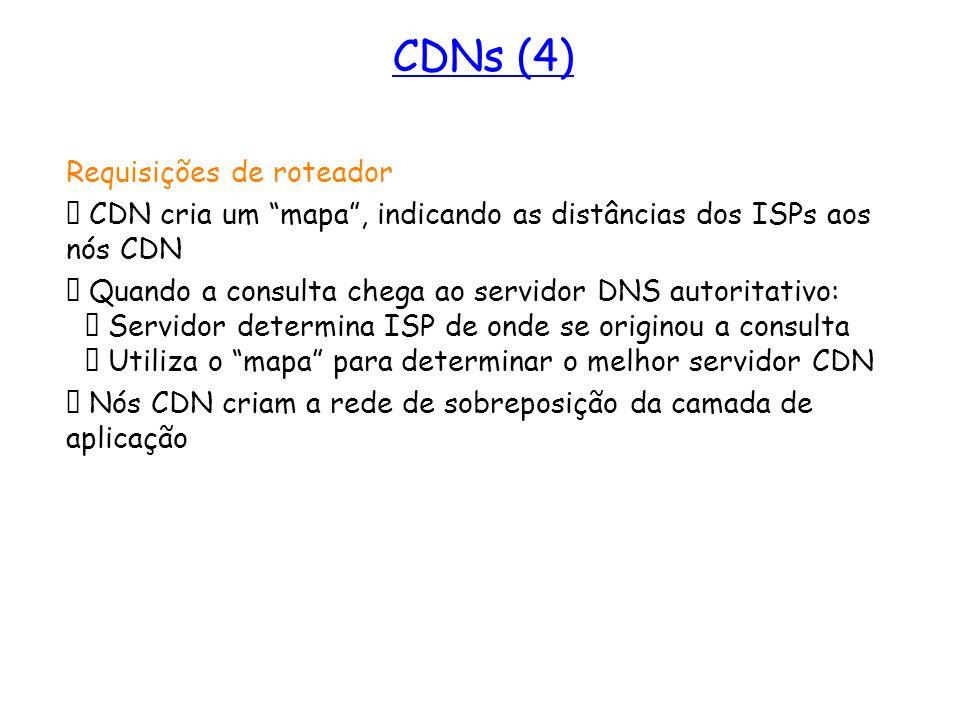 Mais sobre CDNs Requisições de roteador CDN cria um mapa, indicando as distâncias dos ISPs aos nós CDN Quando a consulta chega ao servidor DNS autorit