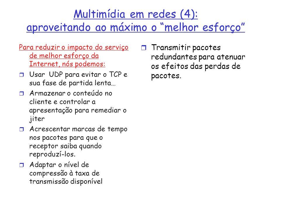 Multimídia em redes (4): aproveitando ao máximo o melhor esforço Para reduzir o impacto do serviço de melhor esforço da Internet, nós podemos: Usar UD