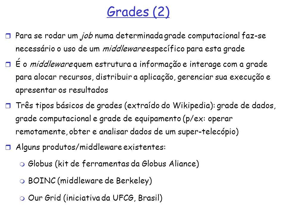 Grades (2) Para se rodar um job numa determinada grade computacional faz-se necessário o uso de um middleware específico para esta grade É o middlewar