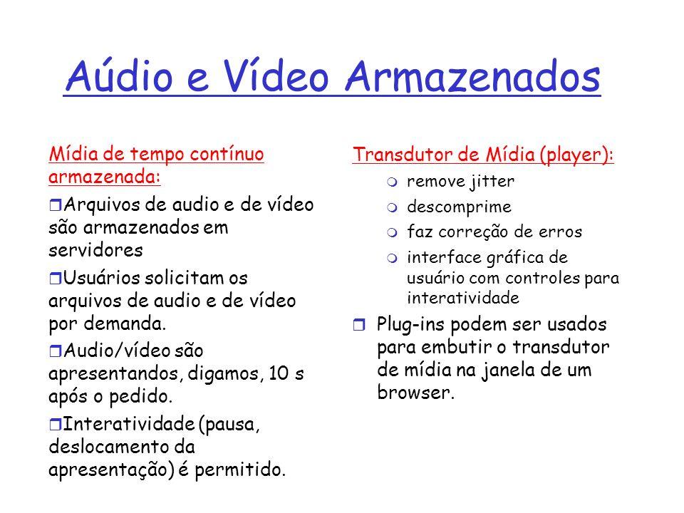 Aúdio e Vídeo Armazenados Mídia de tempo contínuo armazenada: Arquivos de audio e de vídeo são armazenados em servidores Usuários solicitam os arquivo