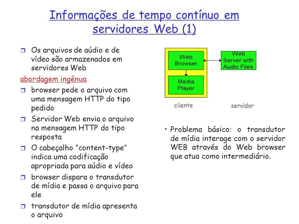 Alternativa: estabelecer conexão entre o servidor e o transdutor browser Web solicita e recebe um meta arquivo (um arquivo descrevendo o objeto) ao invés de receber o próprio arquivo; O cabeçalho Content-type indica uma específica aplicação de audio e vídeo Browser dispara o transdutor de mídia e passa o meta arquivo para ele Transdutor estabelece uma conexão TCP com o servidor e envia a ele a mensagem HTTP do tipo pedido.