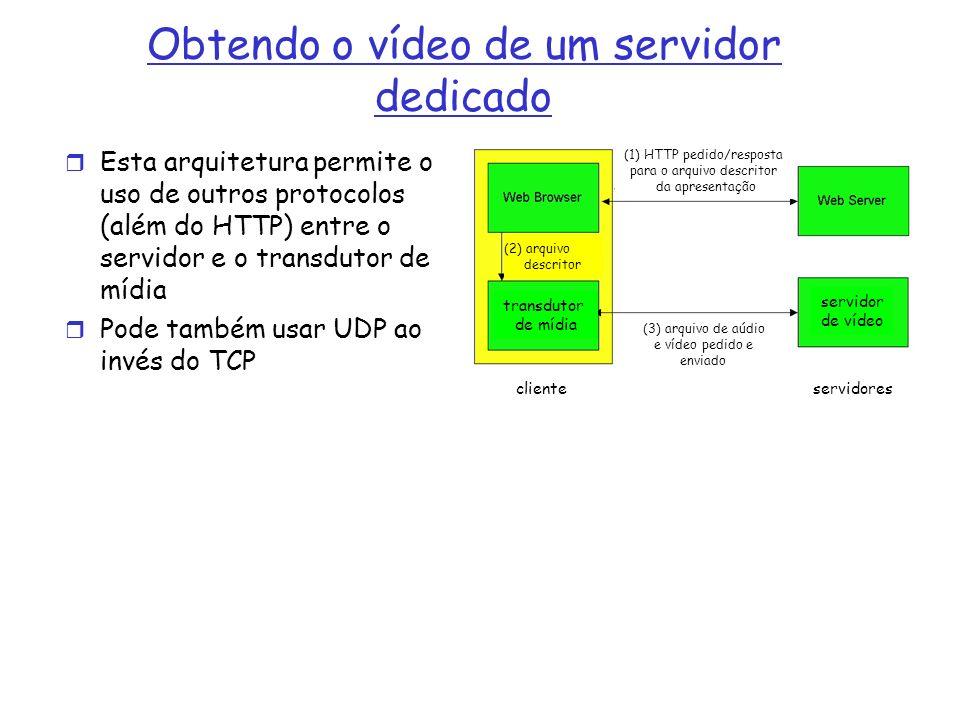 Obtendo o vídeo de um servidor dedicado Esta arquitetura permite o uso de outros protocolos (além do HTTP) entre o servidor e o transdutor de mídia Po