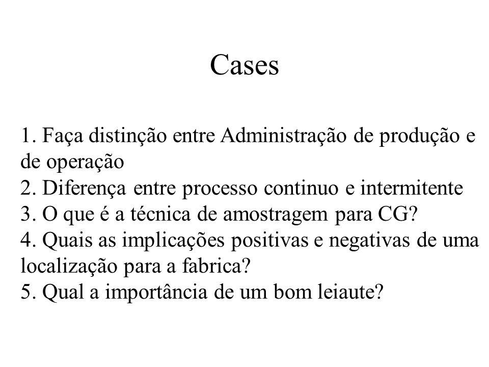 Cases 1. Faça distinção entre Administração de produção e de operação 2. Diferença entre processo continuo e intermitente 3. O que é a técnica de amos