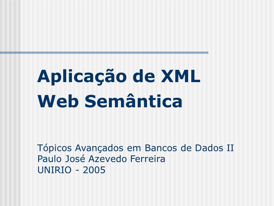 Aplicação de XML Tópicos Avançados em Bancos de Dados II Paulo José Azevedo Ferreira UNIRIO - 2005 Web Semântica