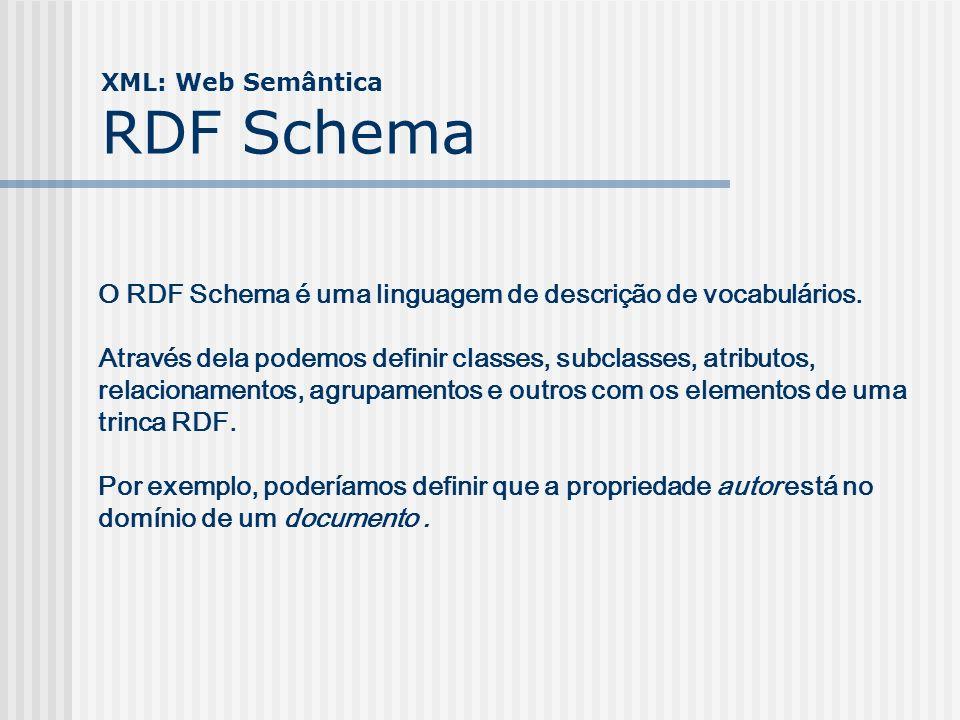 XML: Web Semântica RDF Schema O RDF Schema é uma linguagem de descrição de vocabulários. Através dela podemos definir classes, subclasses, atributos,