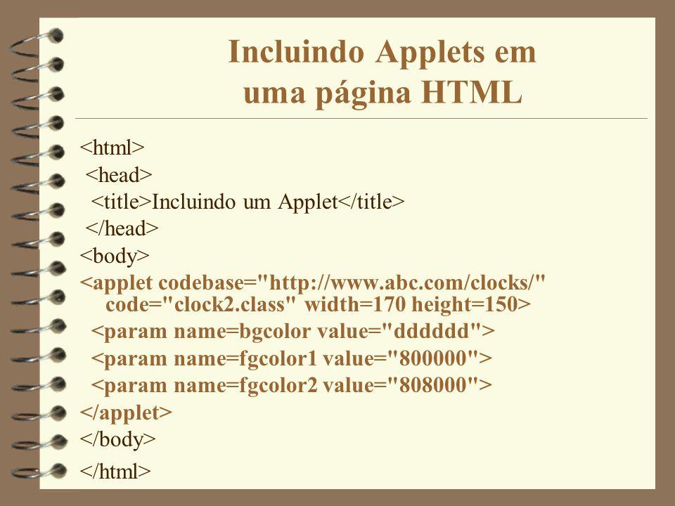 Incluindo Applets em uma página HTML Incluindo um Applet