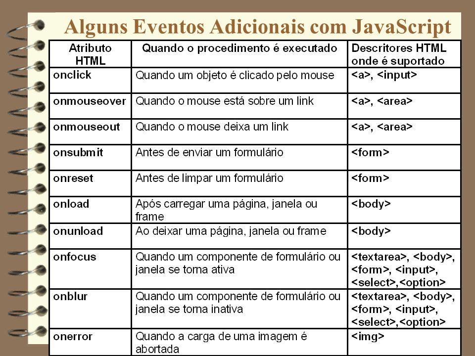 Alguns Eventos Adicionais com JavaScript