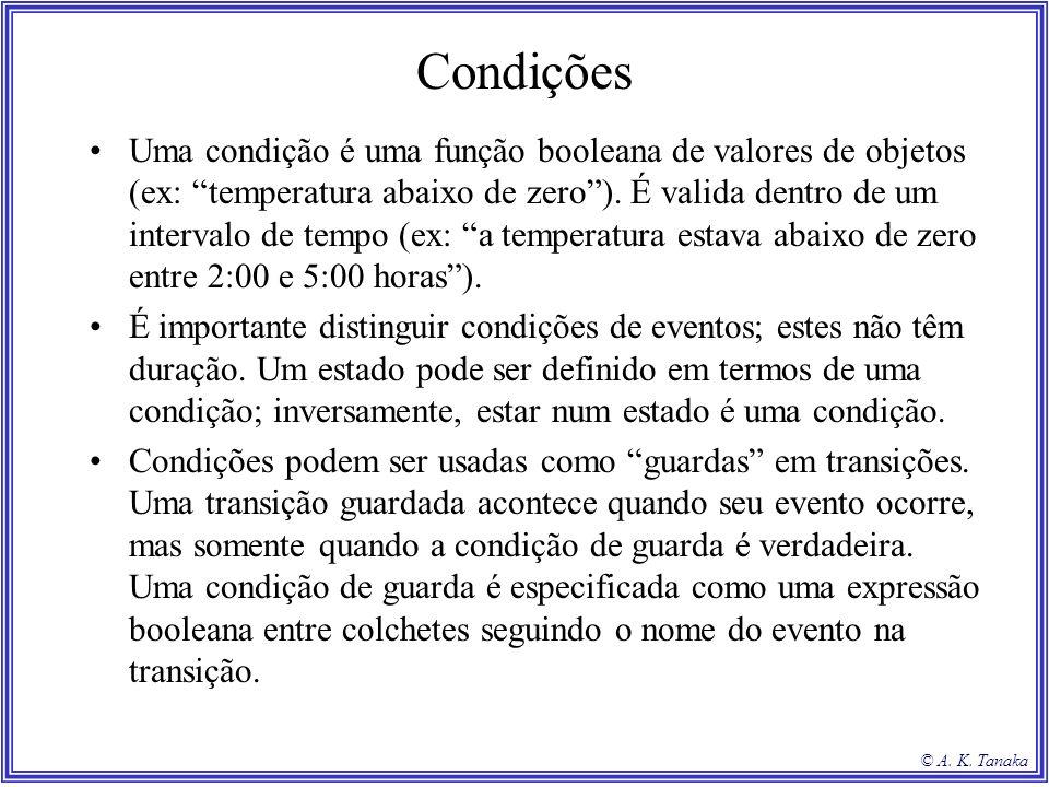 © A. K. Tanaka Condições Uma condição é uma função booleana de valores de objetos (ex: temperatura abaixo de zero). É valida dentro de um intervalo de