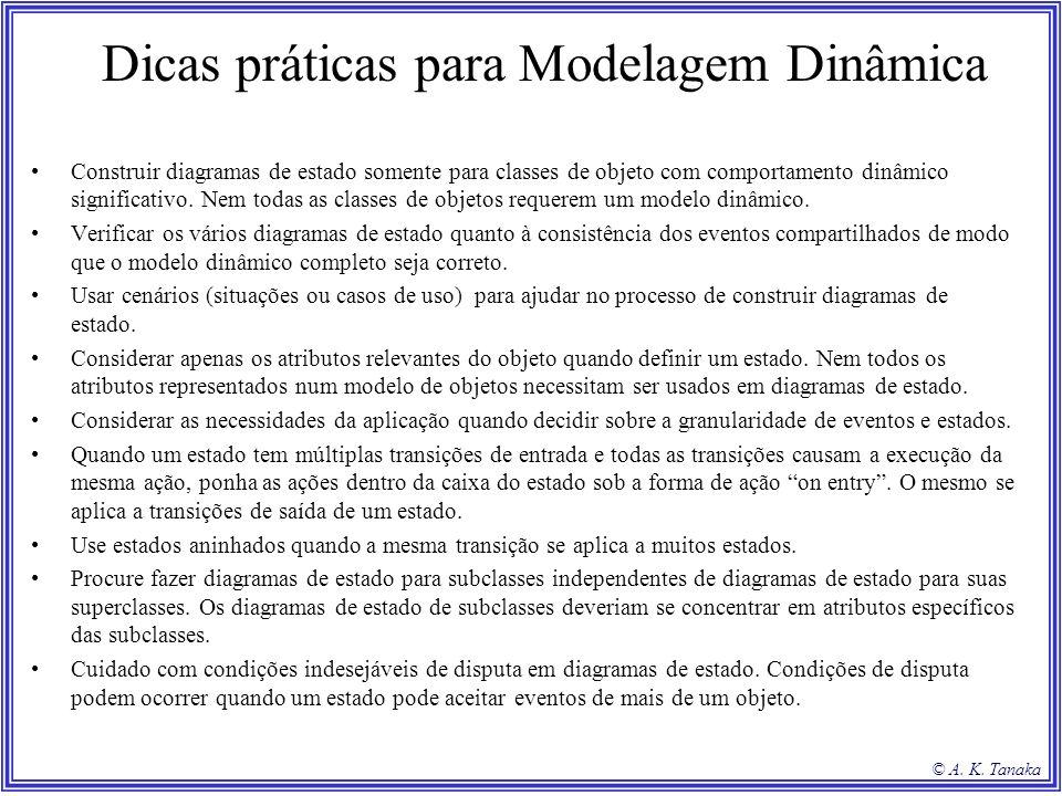 © A. K. Tanaka Dicas práticas para Modelagem Dinâmica Construir diagramas de estado somente para classes de objeto com comportamento dinâmico signific