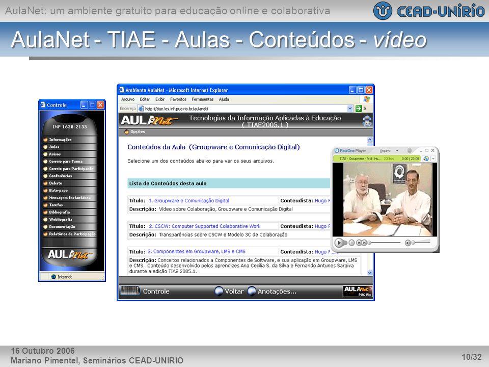 AulaNet: um ambiente gratuito para educação online e colaborativa Mariano Pimentel, Seminários CEAD-UNIRIO 10/32 16 Outubro 2006 AulaNet - TIAE - Aula