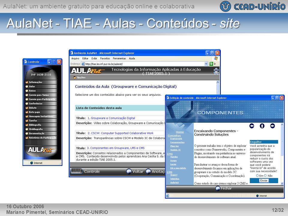 AulaNet: um ambiente gratuito para educação online e colaborativa Mariano Pimentel, Seminários CEAD-UNIRIO 12/32 16 Outubro 2006 AulaNet - TIAE - Aula