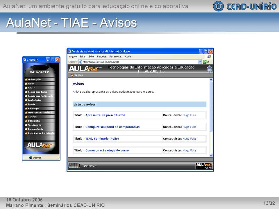 AulaNet: um ambiente gratuito para educação online e colaborativa Mariano Pimentel, Seminários CEAD-UNIRIO 13/32 16 Outubro 2006 AulaNet - TIAE - Avis