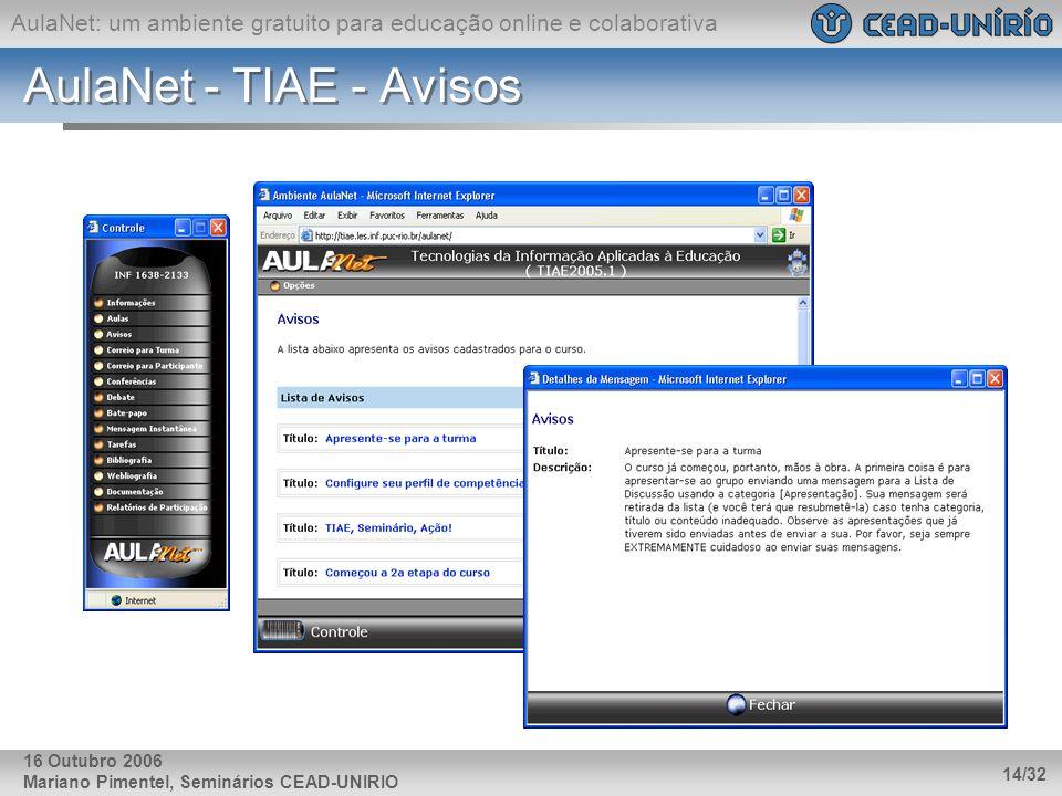 AulaNet: um ambiente gratuito para educação online e colaborativa Mariano Pimentel, Seminários CEAD-UNIRIO 14/32 16 Outubro 2006 AulaNet - TIAE - Avis