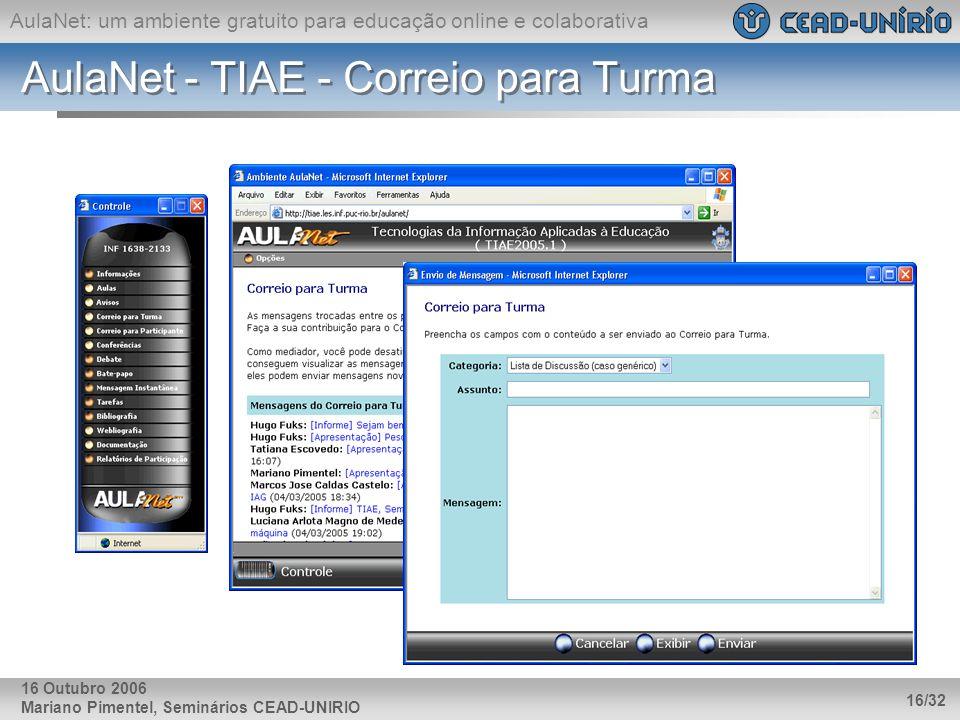 AulaNet: um ambiente gratuito para educação online e colaborativa Mariano Pimentel, Seminários CEAD-UNIRIO 16/32 16 Outubro 2006 AulaNet - TIAE - Corr