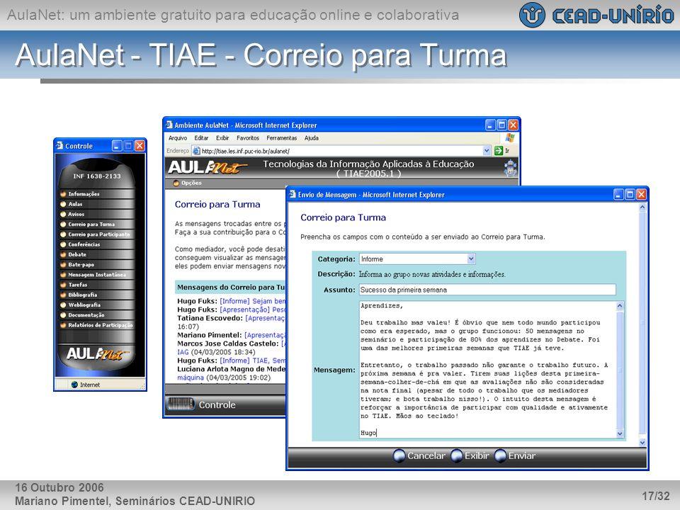 AulaNet: um ambiente gratuito para educação online e colaborativa Mariano Pimentel, Seminários CEAD-UNIRIO 17/32 16 Outubro 2006 AulaNet - TIAE - Corr
