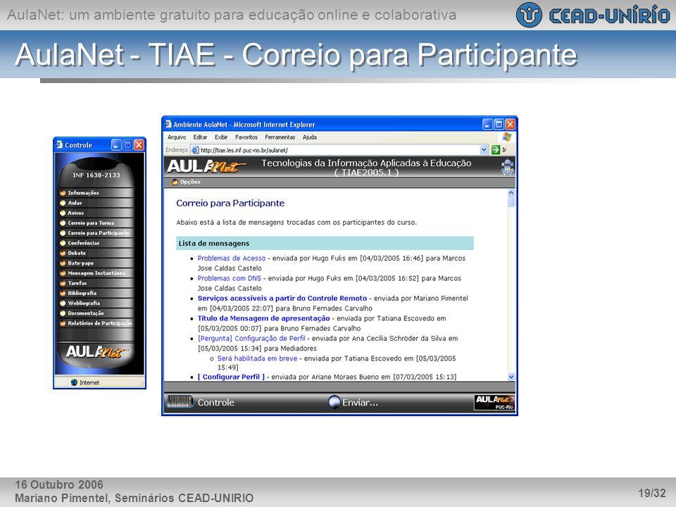 AulaNet: um ambiente gratuito para educação online e colaborativa Mariano Pimentel, Seminários CEAD-UNIRIO 19/32 16 Outubro 2006 AulaNet - TIAE - Corr