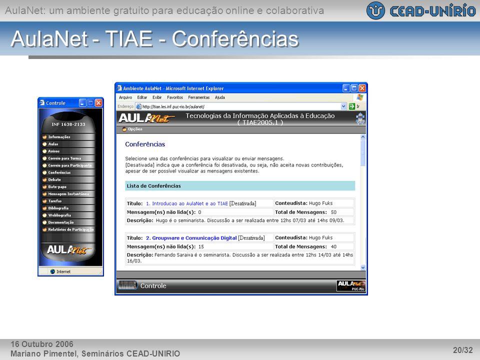 AulaNet: um ambiente gratuito para educação online e colaborativa Mariano Pimentel, Seminários CEAD-UNIRIO 20/32 16 Outubro 2006 AulaNet - TIAE - Conf