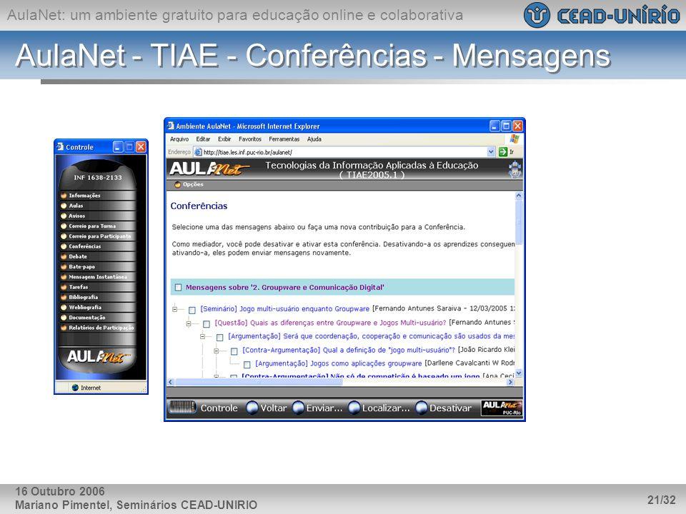 AulaNet: um ambiente gratuito para educação online e colaborativa Mariano Pimentel, Seminários CEAD-UNIRIO 21/32 16 Outubro 2006 AulaNet - TIAE - Conf