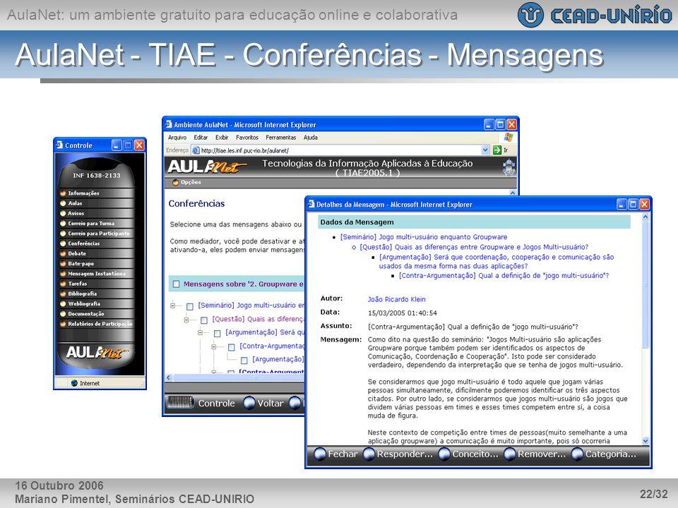 AulaNet: um ambiente gratuito para educação online e colaborativa Mariano Pimentel, Seminários CEAD-UNIRIO 22/32 16 Outubro 2006 AulaNet - TIAE - Conf