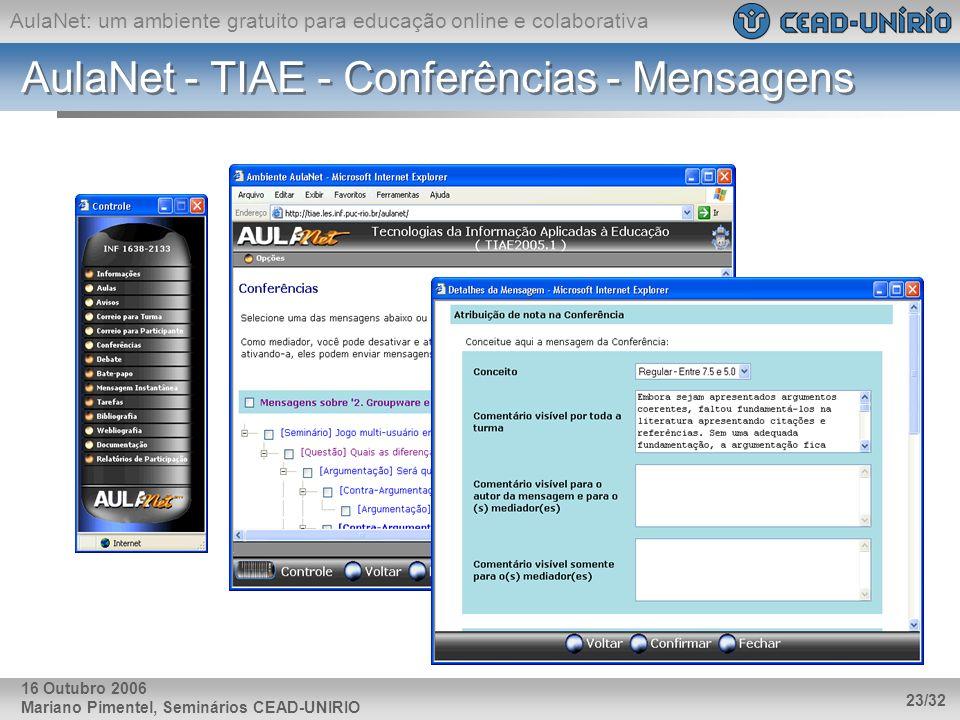 AulaNet: um ambiente gratuito para educação online e colaborativa Mariano Pimentel, Seminários CEAD-UNIRIO 23/32 16 Outubro 2006 AulaNet - TIAE - Conf