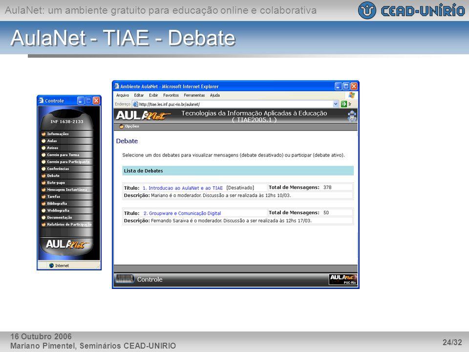 AulaNet: um ambiente gratuito para educação online e colaborativa Mariano Pimentel, Seminários CEAD-UNIRIO 24/32 16 Outubro 2006 AulaNet - TIAE - Deba