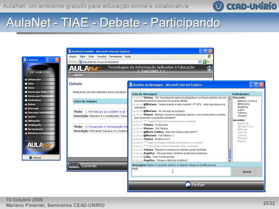 AulaNet: um ambiente gratuito para educação online e colaborativa Mariano Pimentel, Seminários CEAD-UNIRIO 25/32 16 Outubro 2006 AulaNet - TIAE - Deba