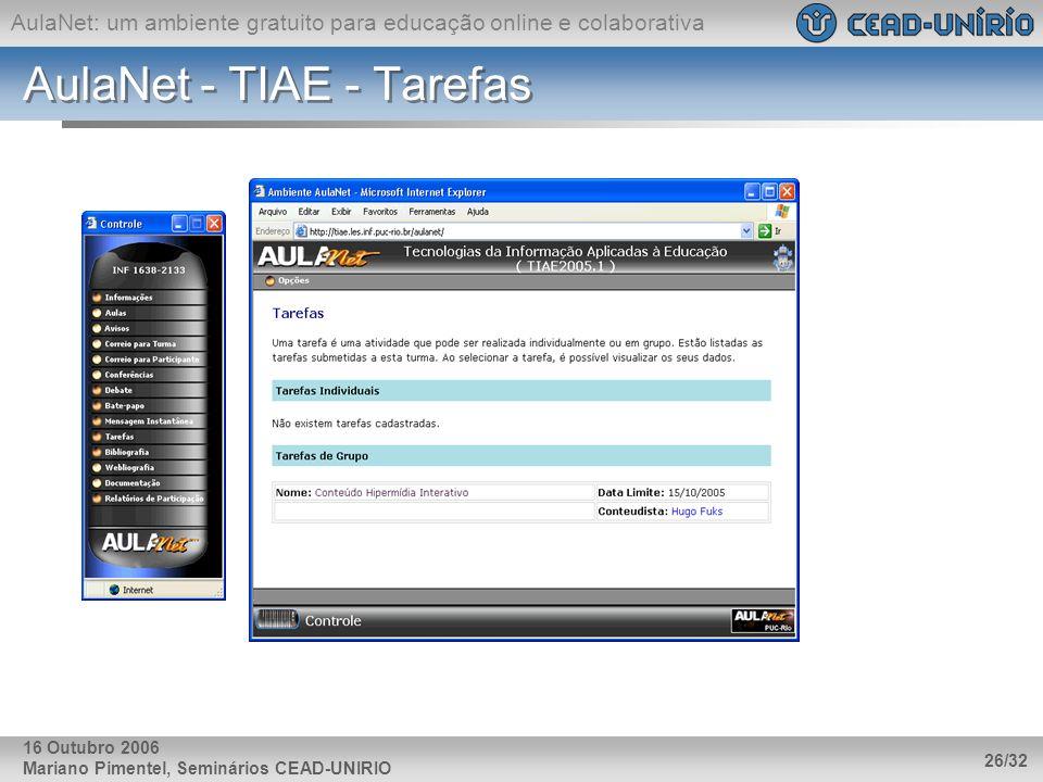 AulaNet: um ambiente gratuito para educação online e colaborativa Mariano Pimentel, Seminários CEAD-UNIRIO 26/32 16 Outubro 2006 AulaNet - TIAE - Tare