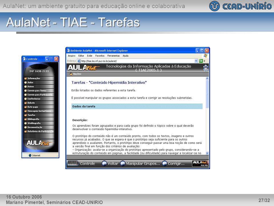 AulaNet: um ambiente gratuito para educação online e colaborativa Mariano Pimentel, Seminários CEAD-UNIRIO 27/32 16 Outubro 2006 AulaNet - TIAE - Tare