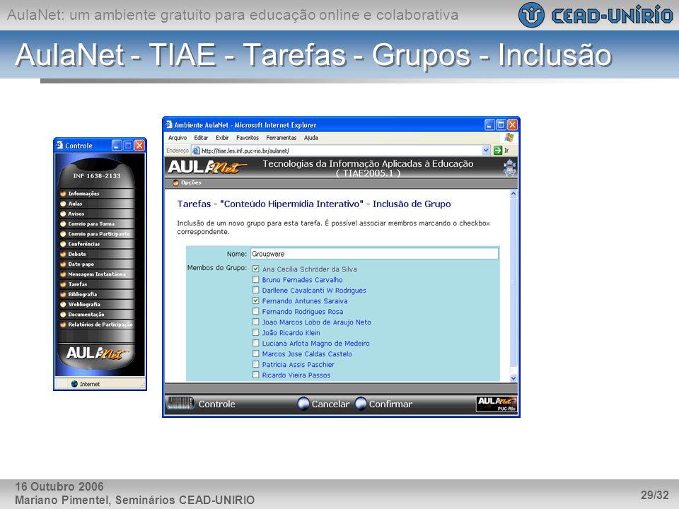 AulaNet: um ambiente gratuito para educação online e colaborativa Mariano Pimentel, Seminários CEAD-UNIRIO 29/32 16 Outubro 2006 AulaNet - TIAE - Tare