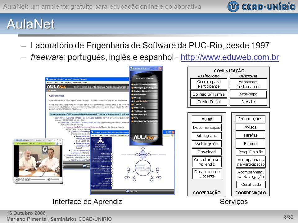 AulaNet: um ambiente gratuito para educação online e colaborativa Mariano Pimentel, Seminários CEAD-UNIRIO 3/32 16 Outubro 2006 AulaNet –Laboratório d