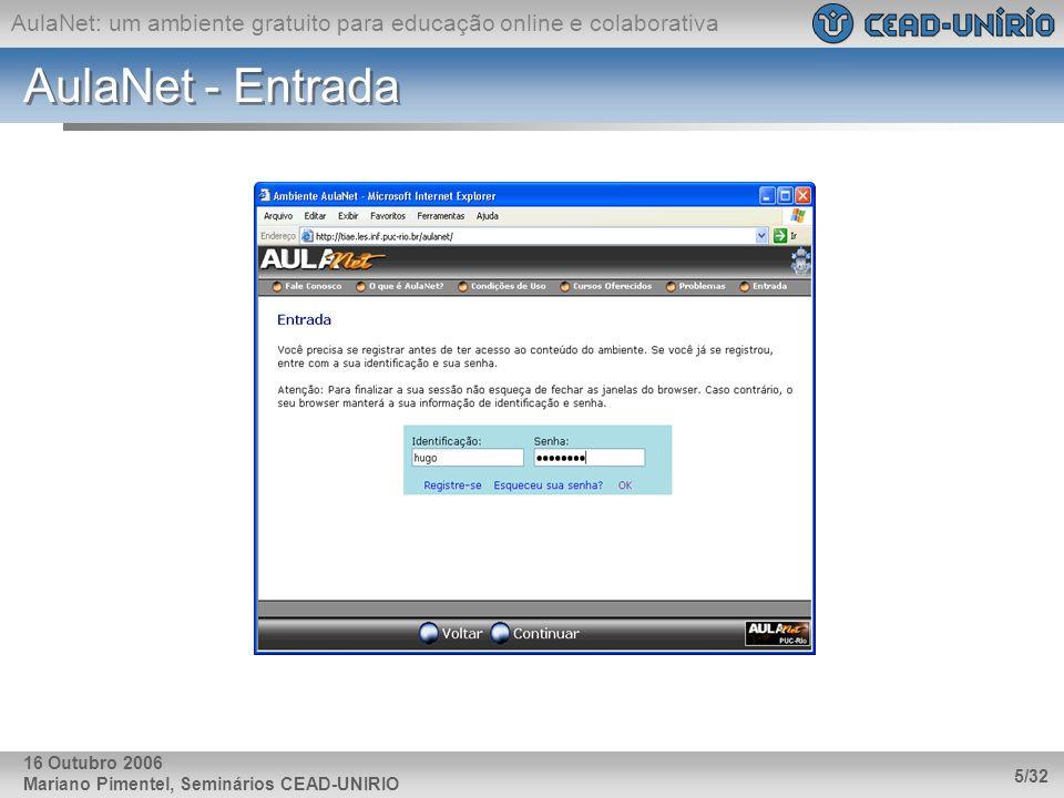 AulaNet: um ambiente gratuito para educação online e colaborativa Mariano Pimentel, Seminários CEAD-UNIRIO 5/32 16 Outubro 2006 AulaNet - Entrada